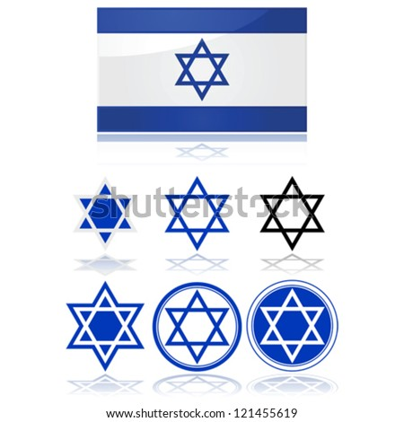 Glossy vector illustration showing the flag of Israel and variations on the star of David - stock vector