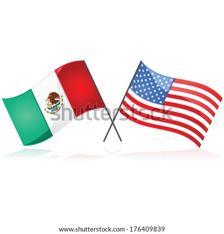 Glossy vector illustration showing the flag of Mexico beside the flag of the United States of America - stock vector