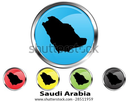 Glossy vector map button of Saudi Arabia - stock vector