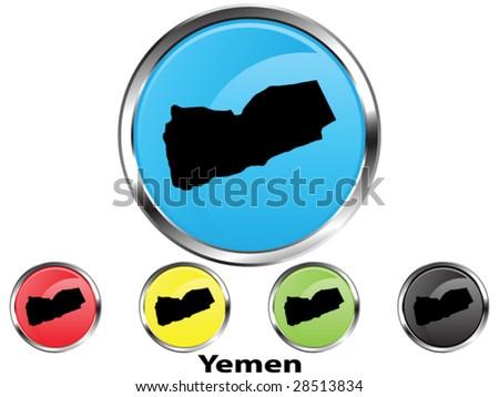 Glossy vector map button of Yemen - stock vector