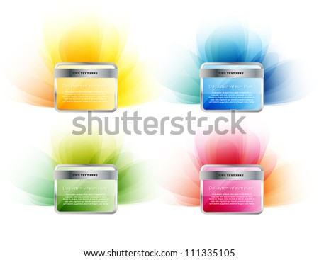Glossy vector rectangular badges collection with subtle backgrounds. - stock vector