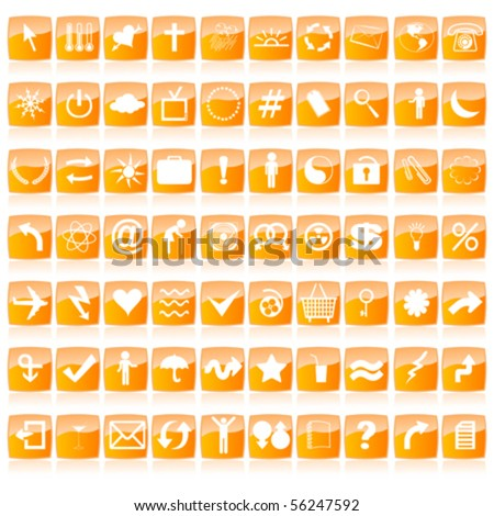Glossy vector web buttons in orange tones - stock vector