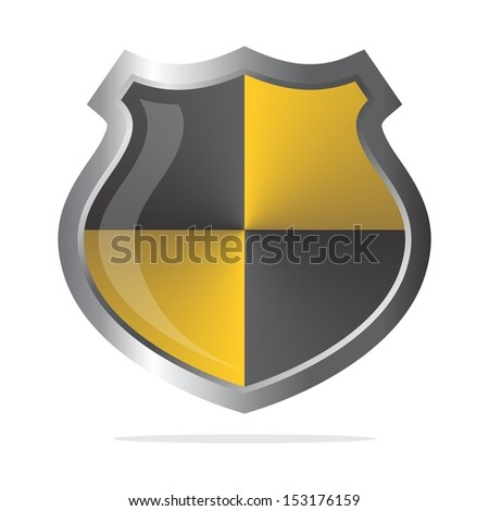 glossy virus protector shield - stock vector