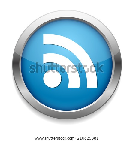 glossy web button with RSS feed sign - stock vector