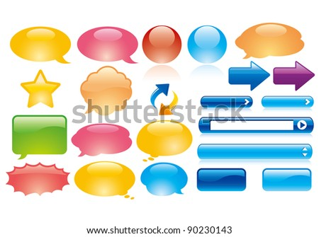glossy web elements vector
