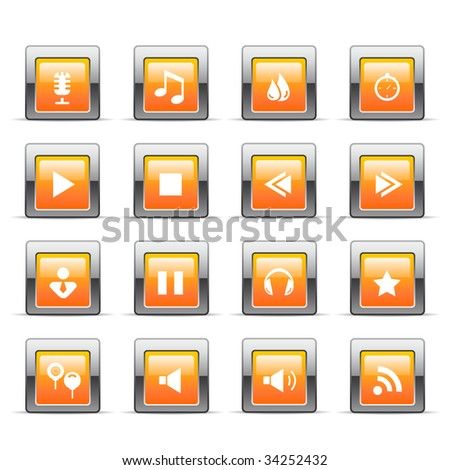 Glossy web icons - stock vector