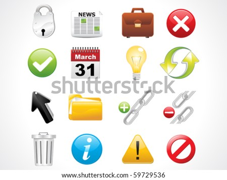 glossy web icons set vector illustration - stock vector
