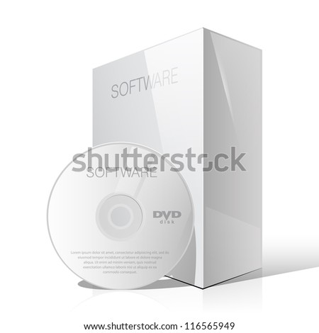 Glossy White Package Cardboard Box with DVD Or CD Disk. Vector illustration