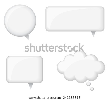 Glossy White Word Bubbles - Set of 4 glossy white word bubbles. Created with blends and simple gradients. Each word bubble is on its own separate layer for easy editing. - stock vector