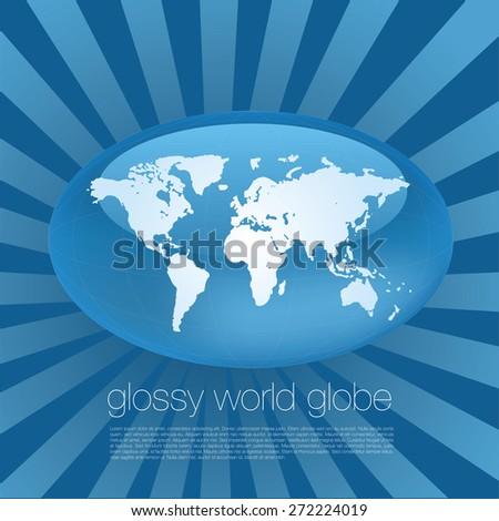 Glossy World Globe - stock vector