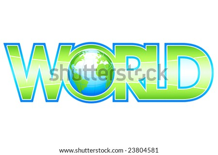 Glossy WORLD letters with globe inside
