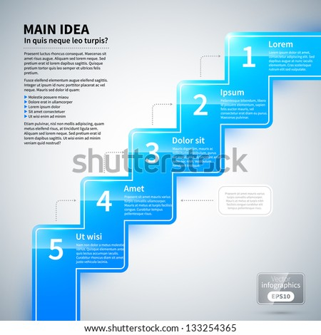 Glossy zigzag line with 5 options, running from corner to corner. - stock vector