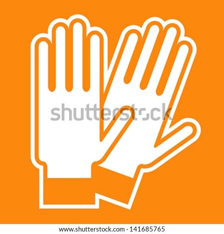 Gloves sign on orange background - stock vector
