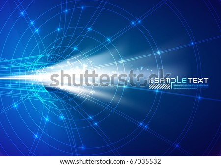Glow from Constructive Tunnel - stock vector