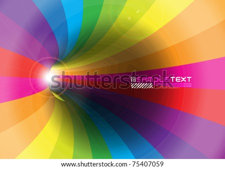 Glow from Rainbow Tunnel - stock vector