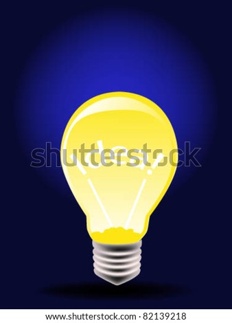 "Glow in the dark light bulb with the words ""idea"" inside - stock vector"
