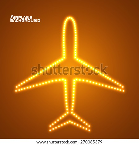 Glowing  airplane with neon. Vector illustration. Eps10 - stock vector