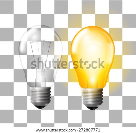 Glowing and turned off electric light bulbs on transparent background, vector illustration - stock vector