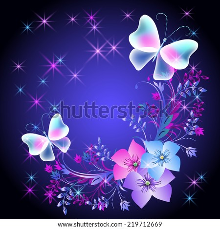 Glowing background with flowers, butterflies and stars - stock vector