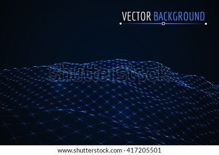 Glowing blue grid landscape. Vector techno background. - stock vector