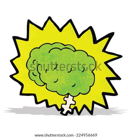 glowing brain cartoon - stock vector