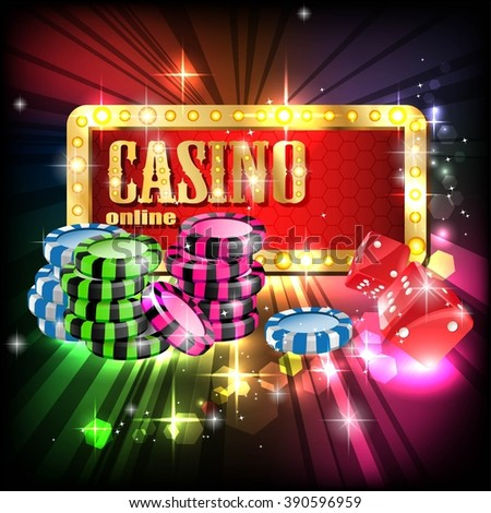Glowing Casino vector illustration design with poker, slots.