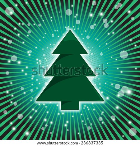 Glowing Christmas Tree - stock vector