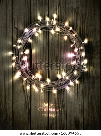 Glowing Christmas wreath made of led lights on the wooden background - stock vector