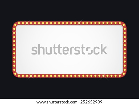 Glowing cinema signboard with light bulbs on the contour. Isolated on black background. Vector illustration, eps 10.  - stock vector