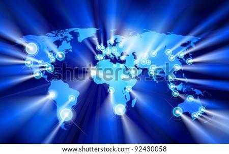 Glowing Cities Around World, vector - stock vector