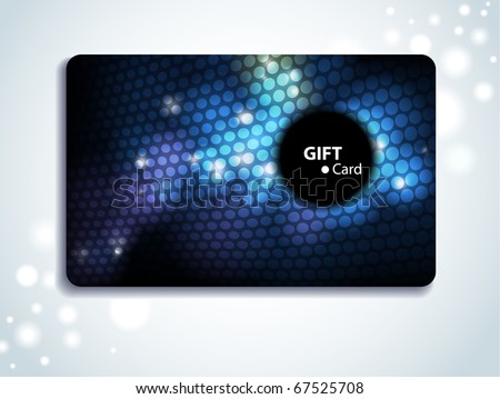 Glowing colorful gift card - stock vector