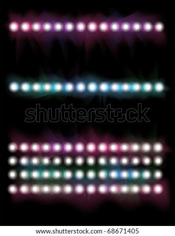 Glowing concert spot light line set - stock vector