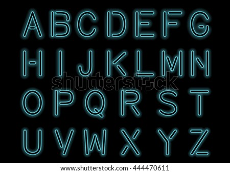 Glowing Cyan Blue Neon Alphabet isolated and transparent. Custom font for design. Shiny letters and symbols Vector. - stock vector