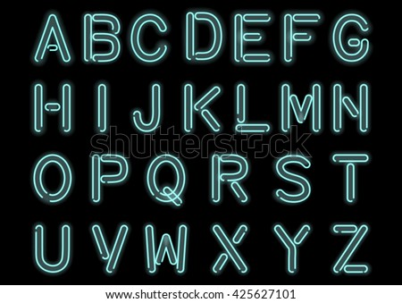 Glowing Cyan Blue Neon Alphabet isolated and transparent. Custom handcrafted light bulb font for design. Vector. - stock vector