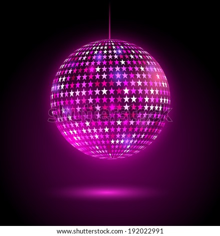 Glowing disco ball with stars. Vector illustration. - stock vector