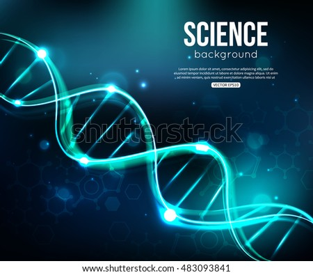 Glowing DNA on dark blue background biotechnology and medicine. Vector illustration EPS 10 format