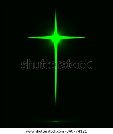 Glowing emerald green Christian cross vector illustration isolated over black background. Holy cross drawing - stock vector