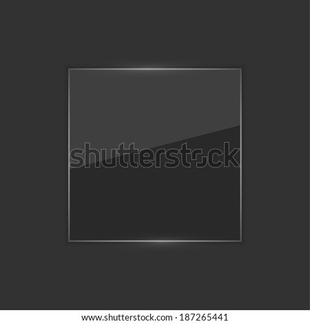 Glowing glossy glass panel with a black background.  for advertising, classified ads, layouts, web, internet, website, with frame for text - stock vector