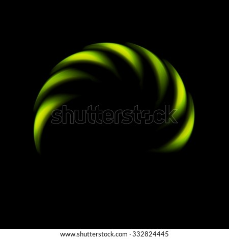 Glowing green abstract logo on black background. Vector art design - stock vector