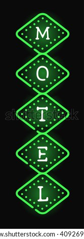 Glowing hotel sign with light neon bulbs retro billboard advertise style vector. Hotel sign billboard and neon hotel sign. Motel neon arrow vintage sign signboard color text. Highway electric lodging. - stock vector