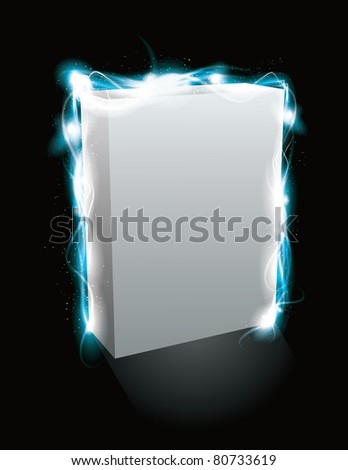Glowing light effect box product mockup. EPS10 file with transparency - stock vector