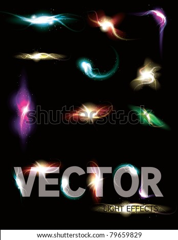 Glowing light effect sparkling design element collection. - stock vector