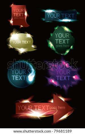 Glowing light effect sparkling design element web button collection - stock vector