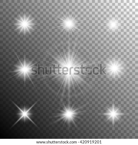 Glowing light effects. Sparkling and shining stars, bright flashes of lights with a radiating. Transparent light effects in vector