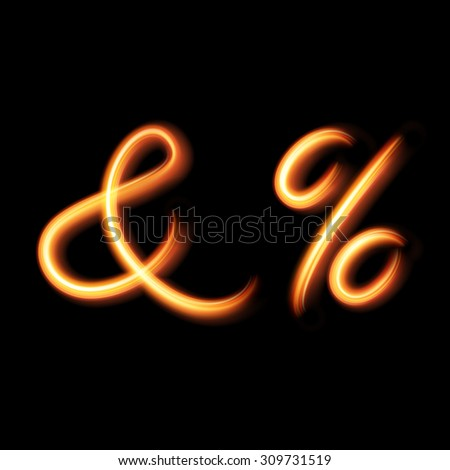 Glowing light letter symbol And and Percent sign. Hand lighting painting - stock vector