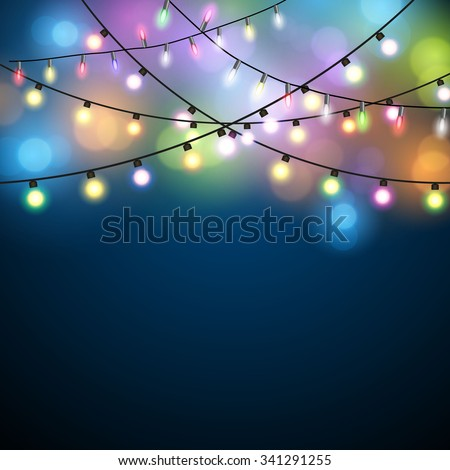 Glowing Lights - Colorful Fairy Lights Background. Christmas Lights Background. Vector illustration - stock vector