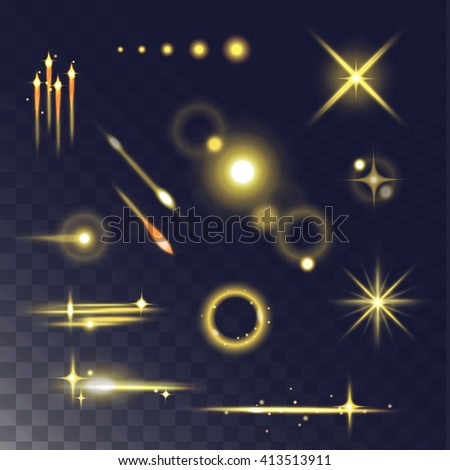 Glowing lights effect and stars. Light effect isolated on dark transparent background. Vector illustration light effect and light effect abstract glow blur stars. Light effect design flare glitter. - stock vector