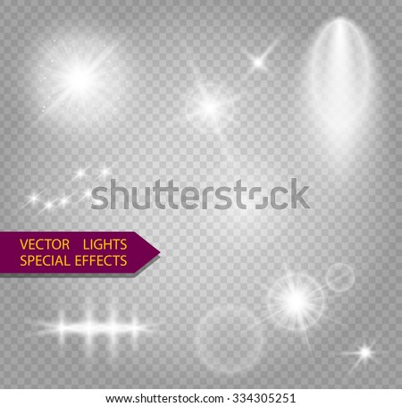 Glowing lights effect, flare, explosion and stars. Special effect isolated on transparent background - stock vector