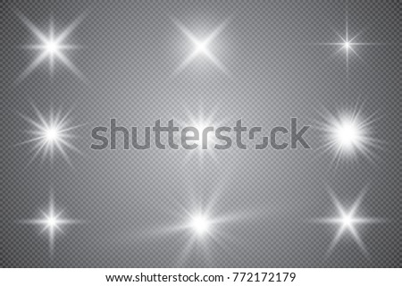 Glowing lights effect, flare, explosion and stars. Special effect isolated on transparent background