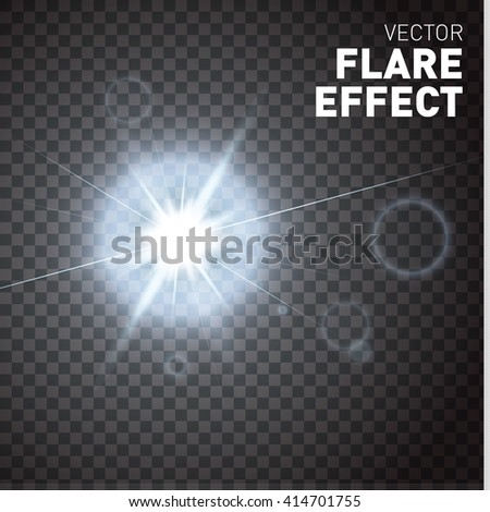 Glowing lights isolated on transparent background. Flare effect. Vector illustration - stock vector